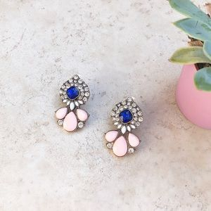 Blush and Sapphire Statement Earrings